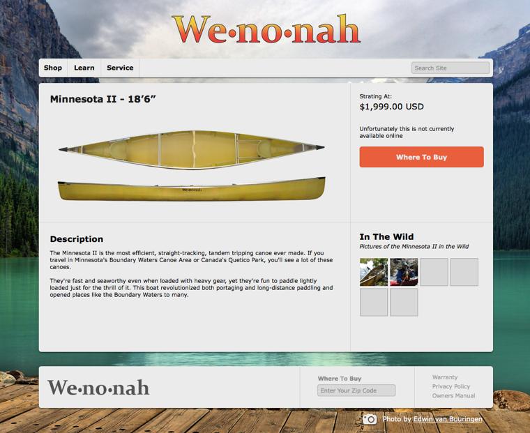 Wenonah item page for desktop