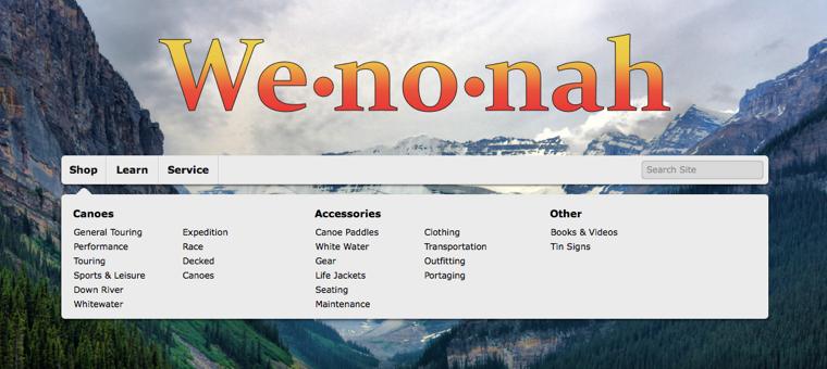 Wenonah navigation for desktop