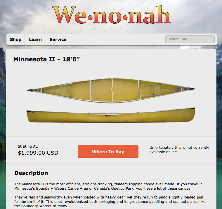 Wenonah item page for tablet